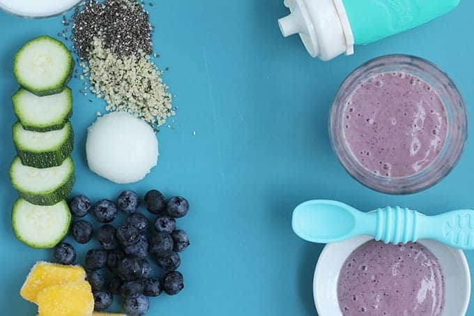 blueberry constipation smoothie on blue background
