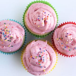 strawberry cupcakes with sprinkles