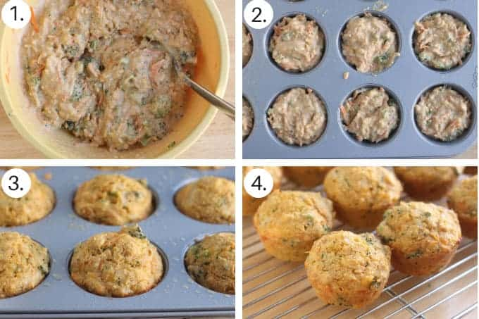 how to make veggie muffins step by step