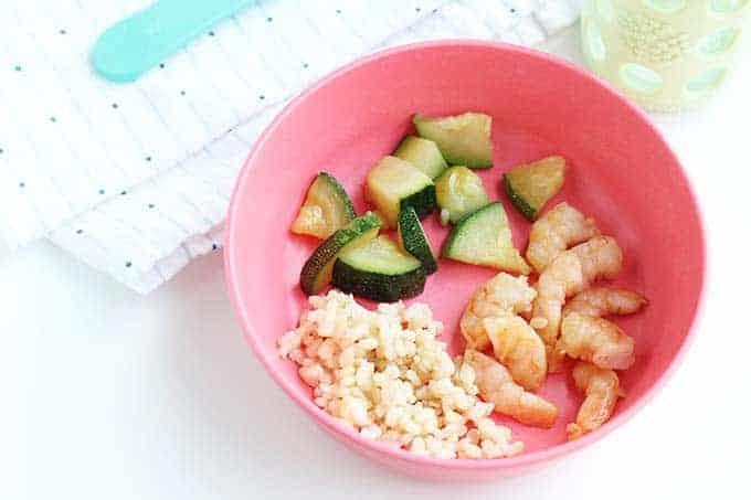 kids teriyaki shrimp serving in pink bowl