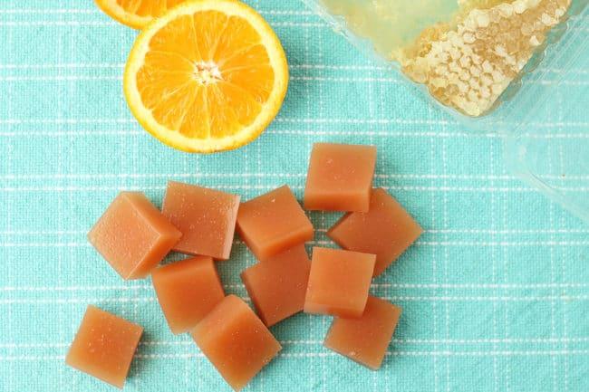 orange-fruit-snacks on teal tea towel