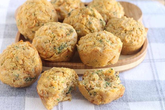 veggie muffins on gray towel