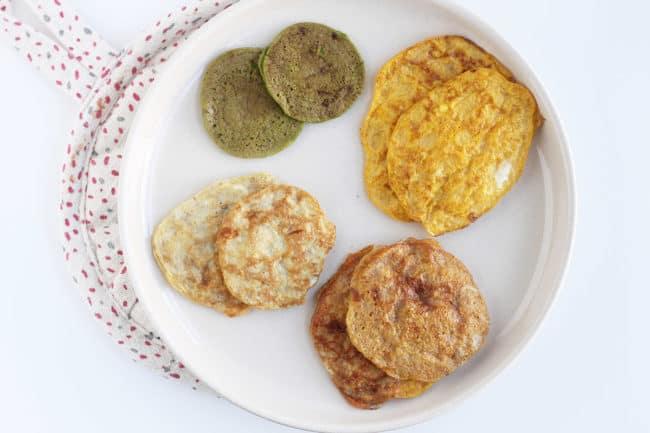 2-ingredient-pancake-varieties-on-white-plate