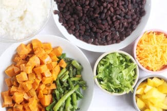 Easy Vegetarian Burrito Bowls with Rice and Beans
