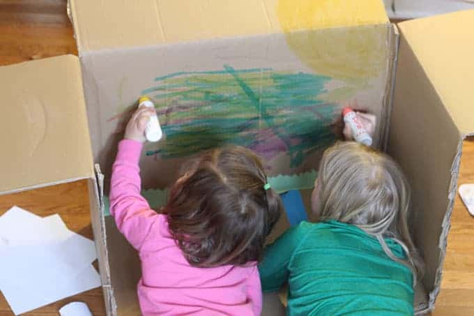 girls-coloring-cardboard-box