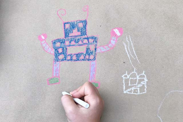 robot drawing on kraft paper
