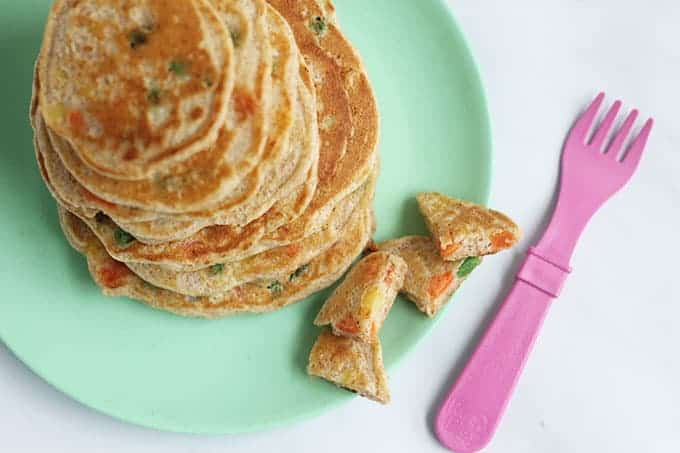 vegetable-pancakes-with-pink-fork