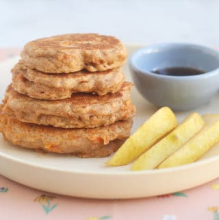 carrot-pancakes-in-stack-with-pear-slices