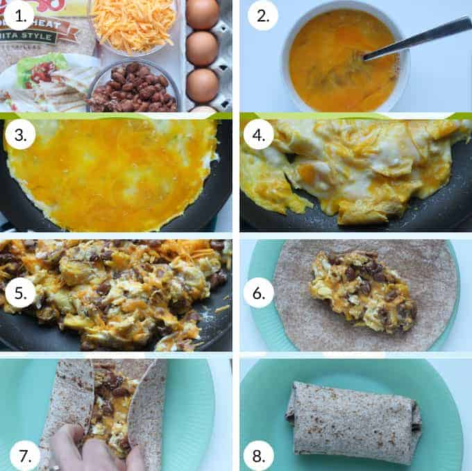 how to make easy breakfast burritos step by step process
