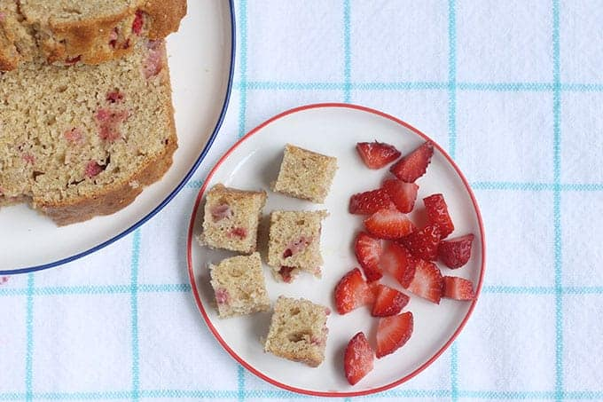 diced strawberry banana bread with berries