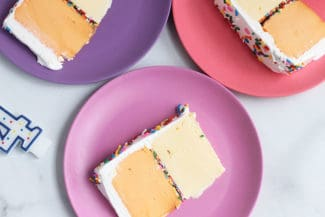 ice-cream-cake-slice-on-pink-plate