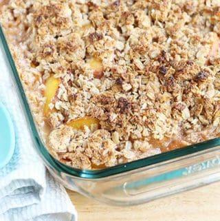 peach crisp in a baking pan