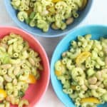 pesto pasta salad in three bowls
