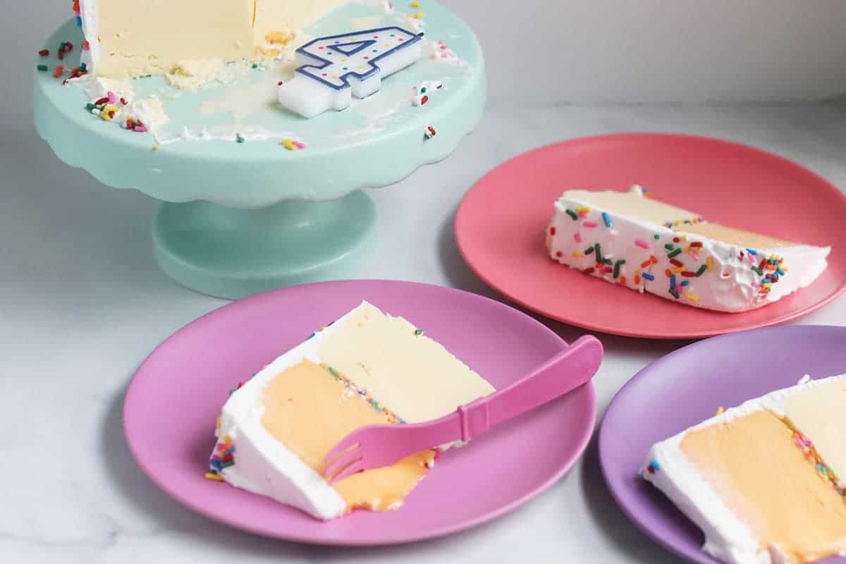 slices-of-ice-cream-cake-on-bright-plates