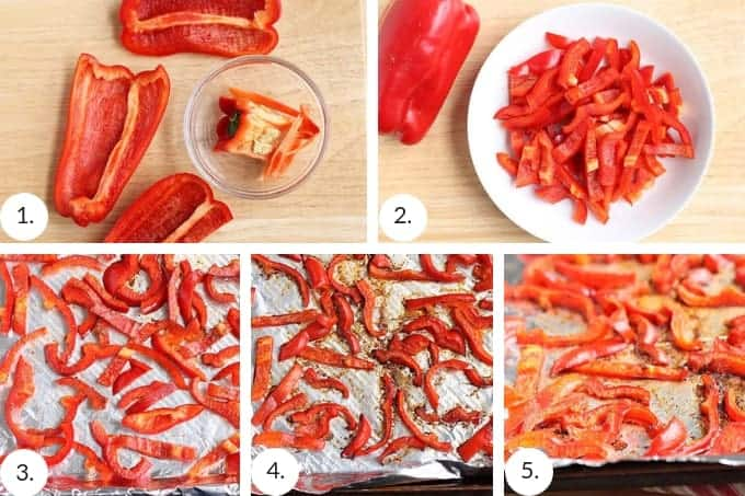 how to roast red peppers in the oven step by step