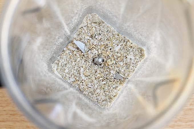 grinding oats in blender