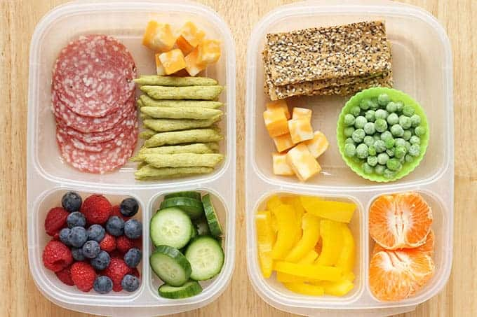 two snack boxes for kids lunches