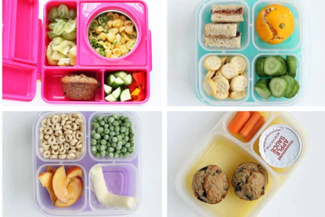 4 kindergarten lunches in grid