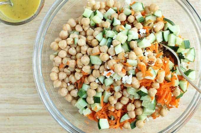 mixed together quinoa salad