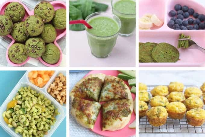 spinach recipes for kids in grid of 6