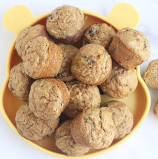 zucchini-carrot-muffins-on-yellow-plate
