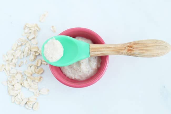 baby-oatmeal-on-green-silicone-spoon2