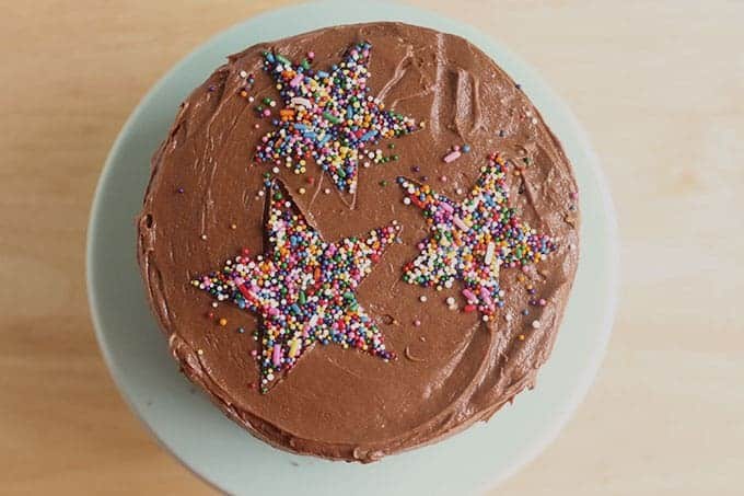 healthy chocolate-cake-with-star-sprinkles