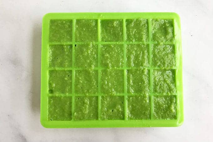 pea-puree-in-ice-cube-tray