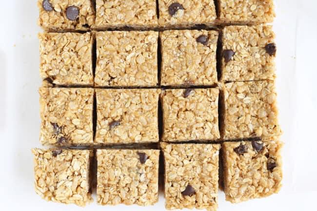 no-bake-granola-bar cut up