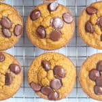 healthy pumpkin chocolate chip muffins on rack