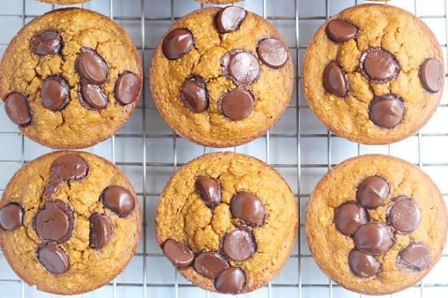 healthy pumpkin chocolate chip muffins on rack