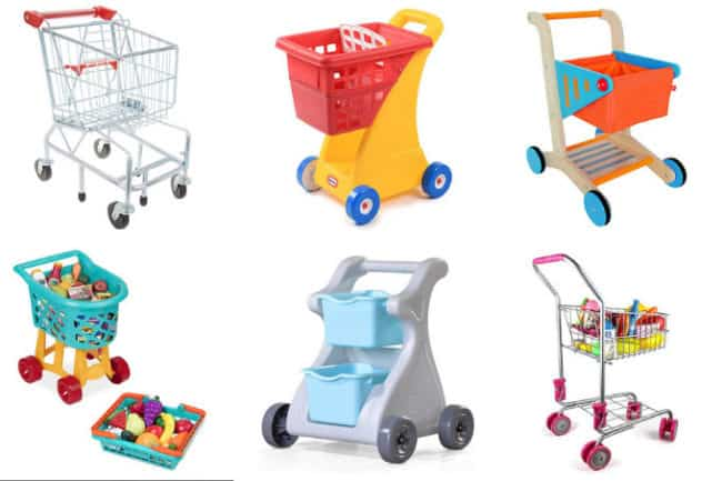 6 toddler shopping carts in grid