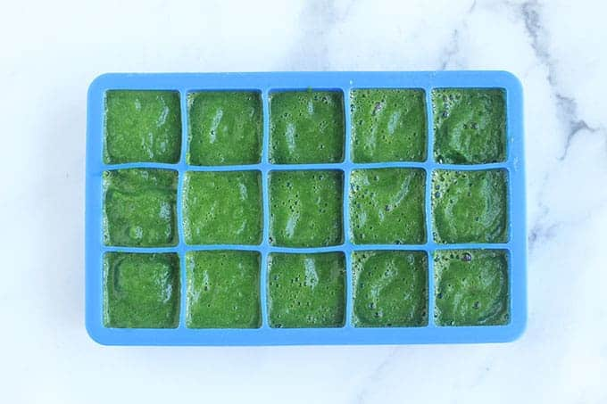 spinach-puree-in-ice-cube-tray