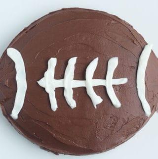 football cake on white cutting board