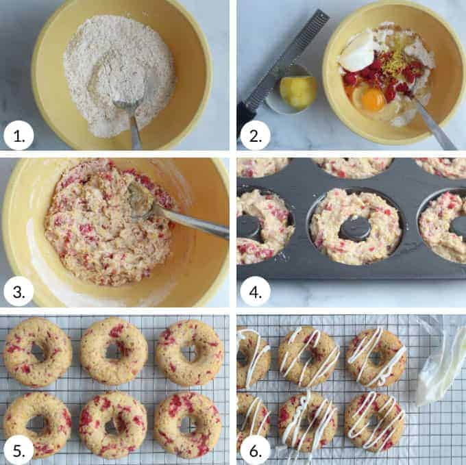 how to make raspberry baked donuts step by step