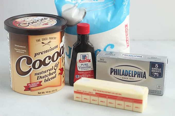ingredients in chocolate cream cheese frosting