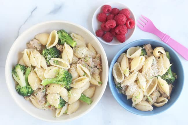 bowls-of-broccoli-sausage-pasta-for-family