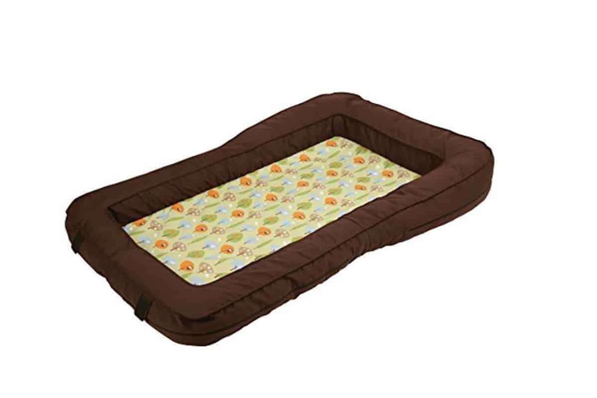 leachco bumpzz travel bed in brown