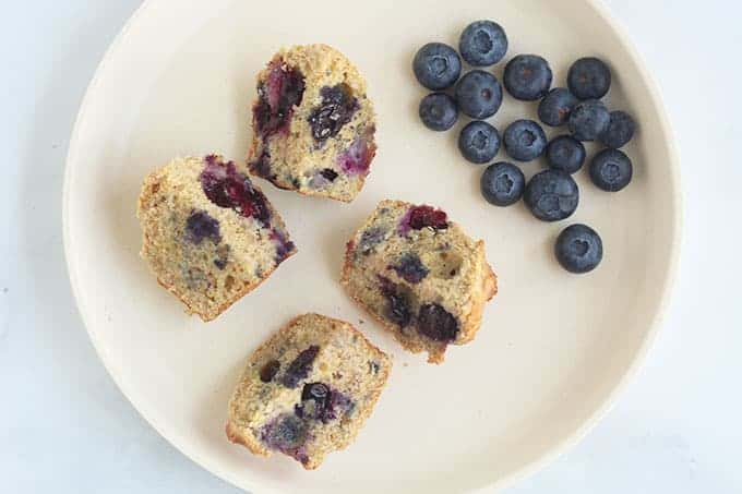 lemon-blueberry-muffins-cut-up-on-plate