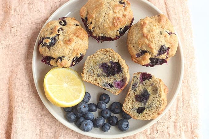 plate-of-lemon-blueberry-muffins-with-lemon-slice