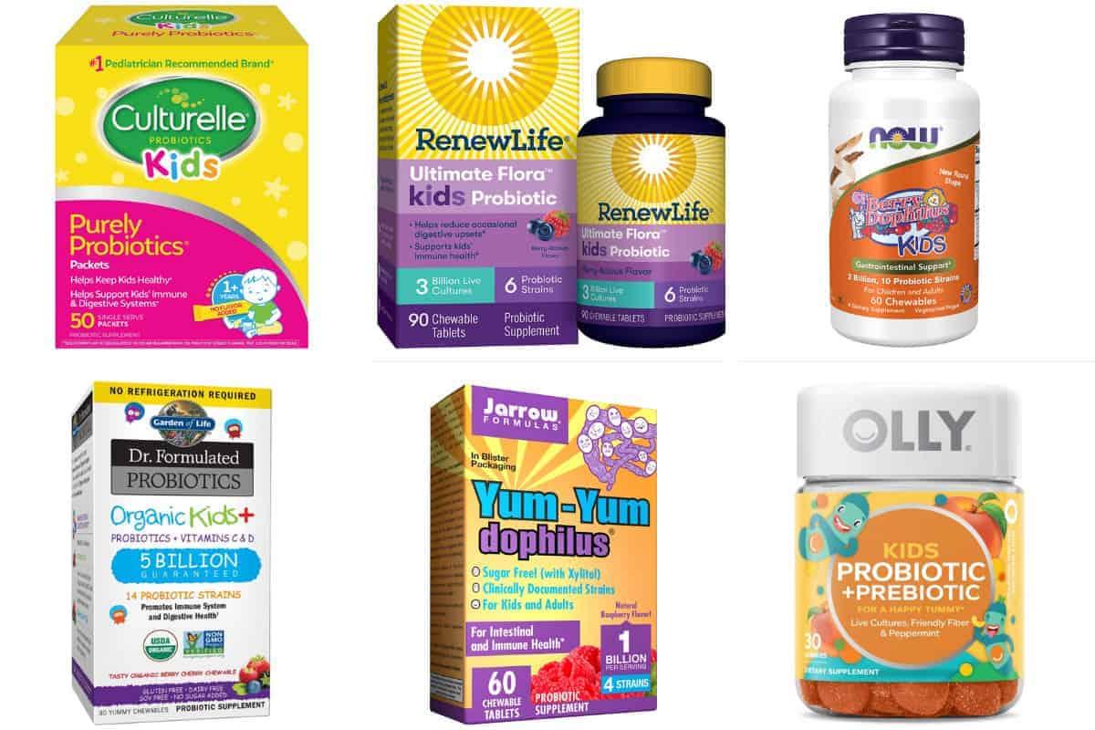 6 probiotic brands for kids in grid