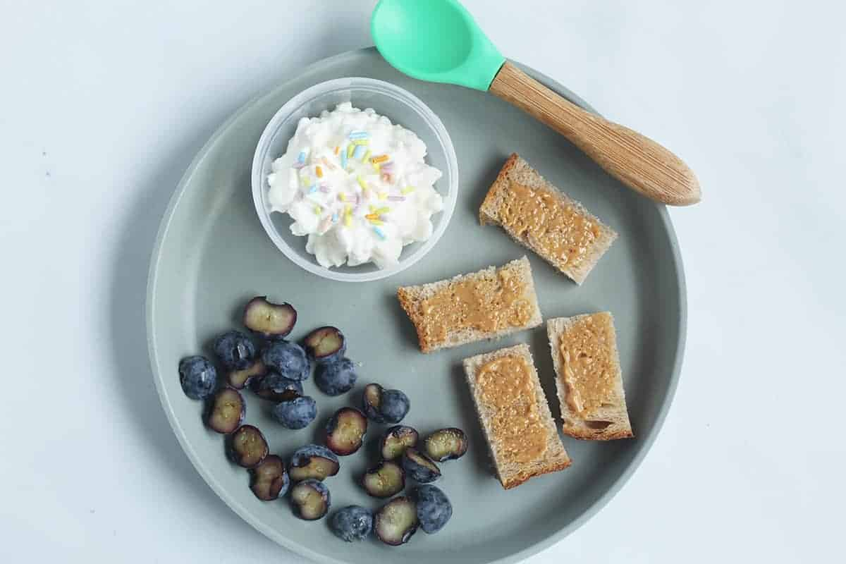 toddler-plate-of-food-with-toast,-berries-and-cottage-cheese