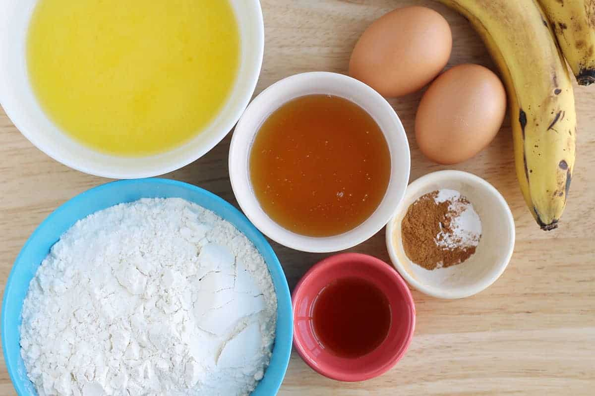 ingredients in banana cupcakes