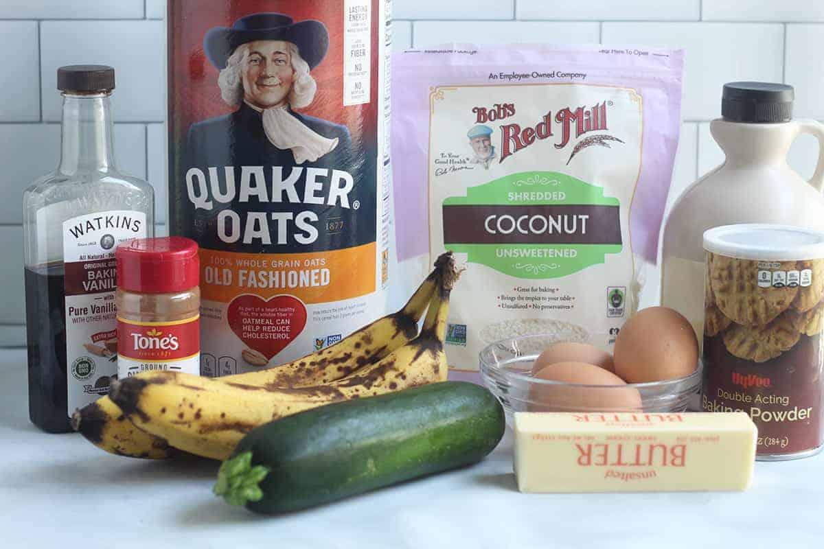 ingredients in zucchini banana bread