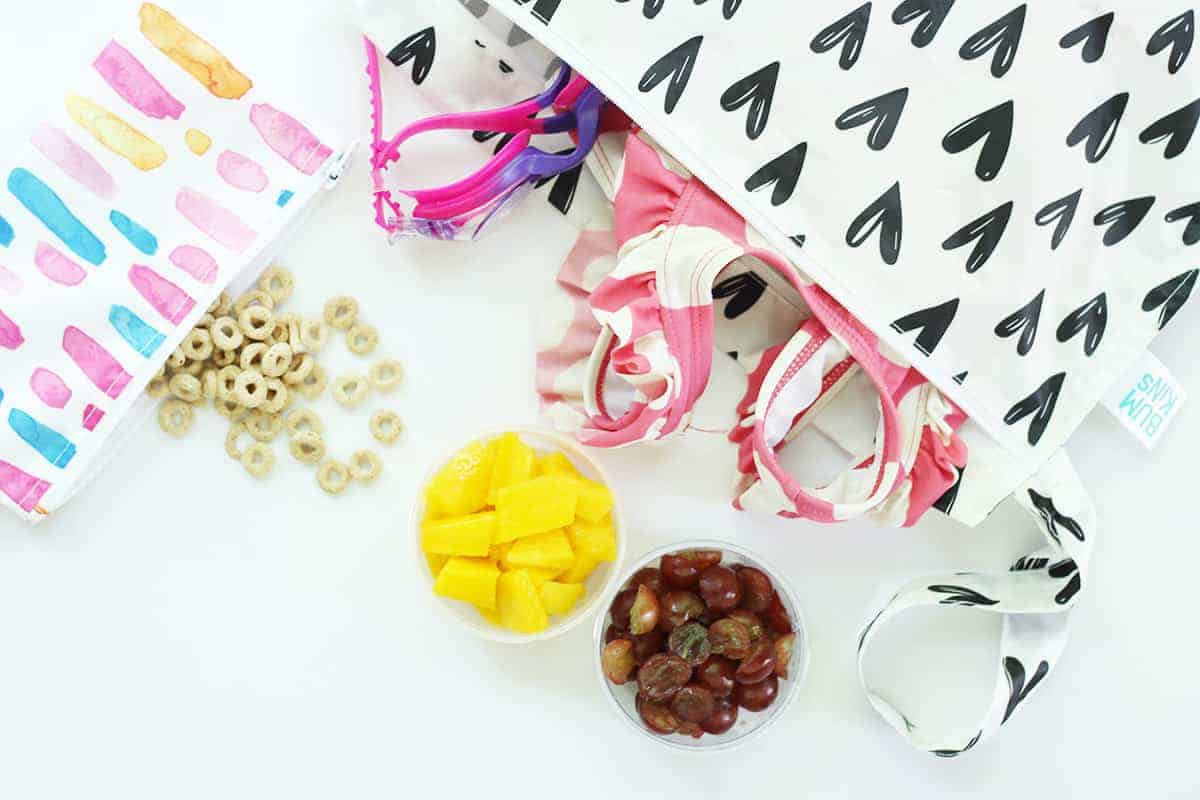 snacks for beach and pool in bags