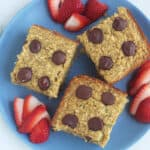 zucchini-banana-bread-squares-on-blue-plate