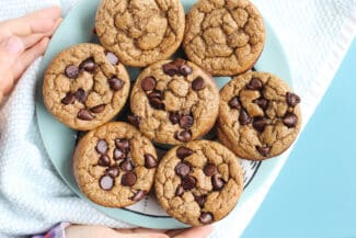 banana-oatmeal-muffins-on-blue-plate