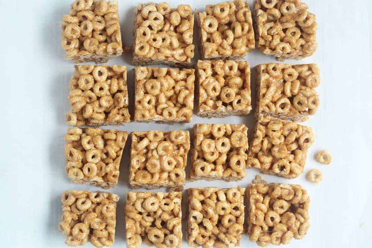cereal bars sliced on countertop