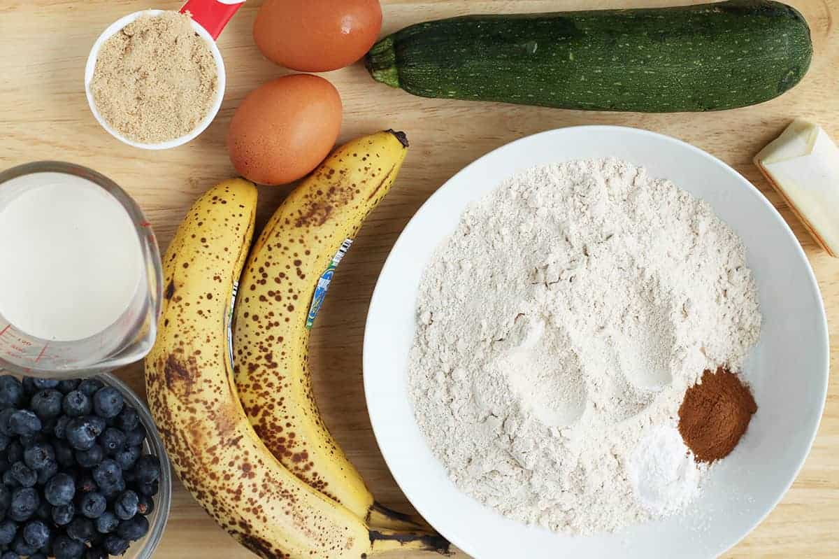 ingredients in banana zucchini muffins
