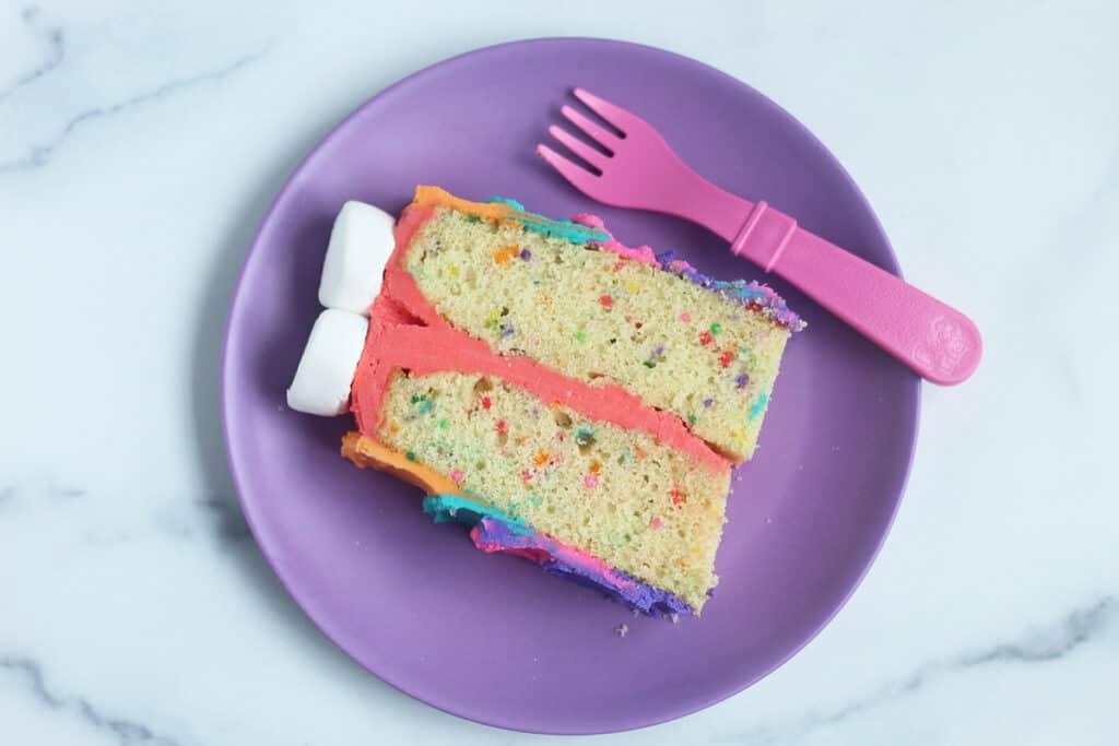 slice-of-rainbow-cake-on-purple-plate